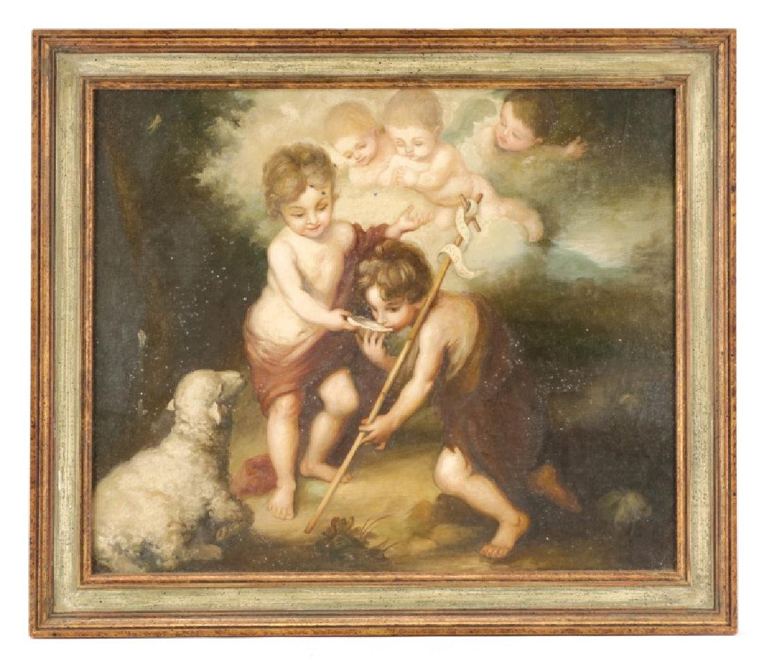 """19th C. Oil After Murillo, """"Children of the Shell"""""""