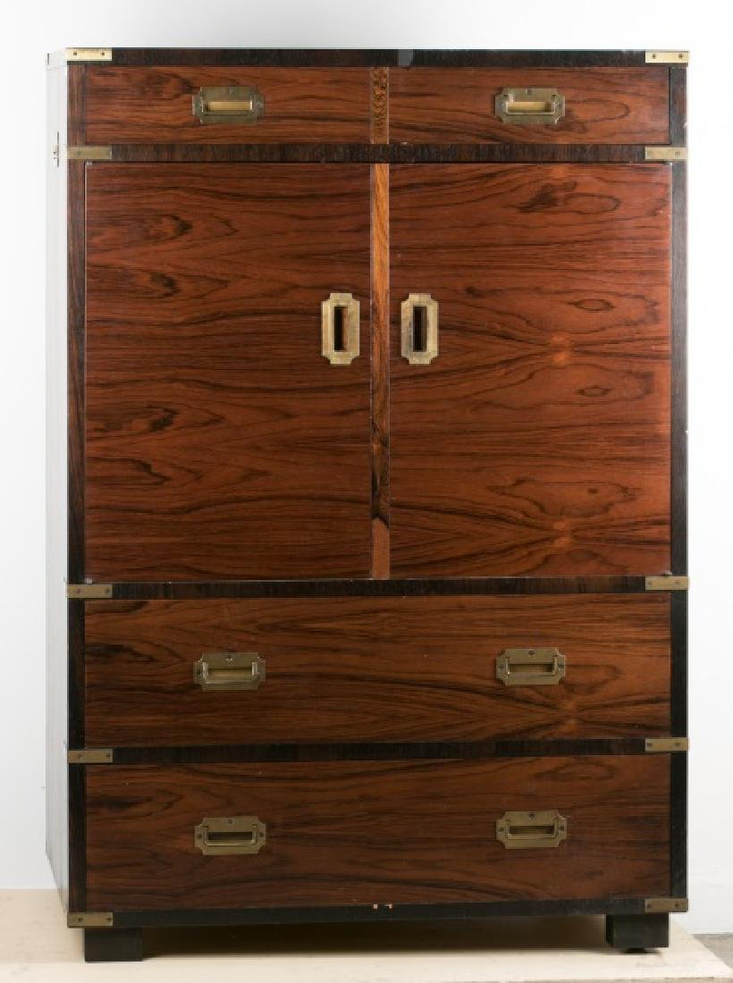 Tall Walnut Campaign Chest by Sloane Furniture Co.