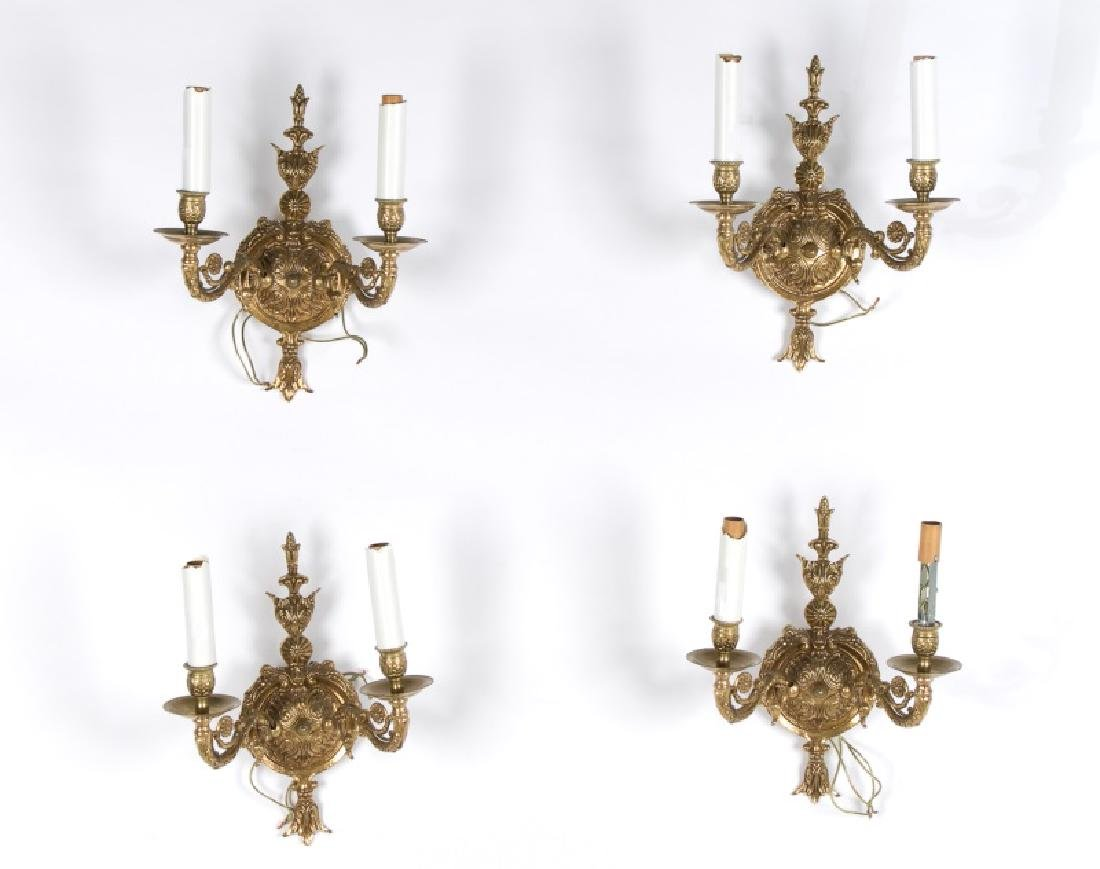Set of 4 Baroque Style Brass Wall Sconces