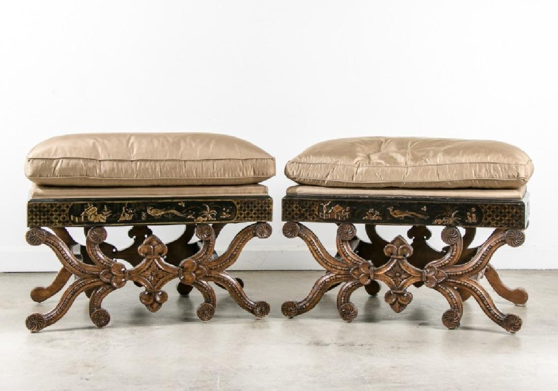 Pair, Chinoiserie Decorated Cushioned Ottomans