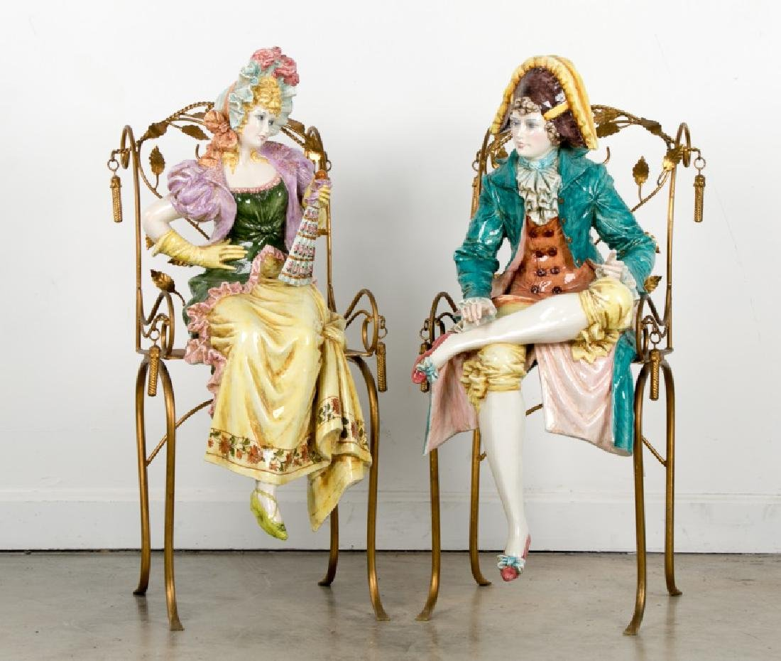 Pair, Large Capodimonte Seated Figures on Chairs