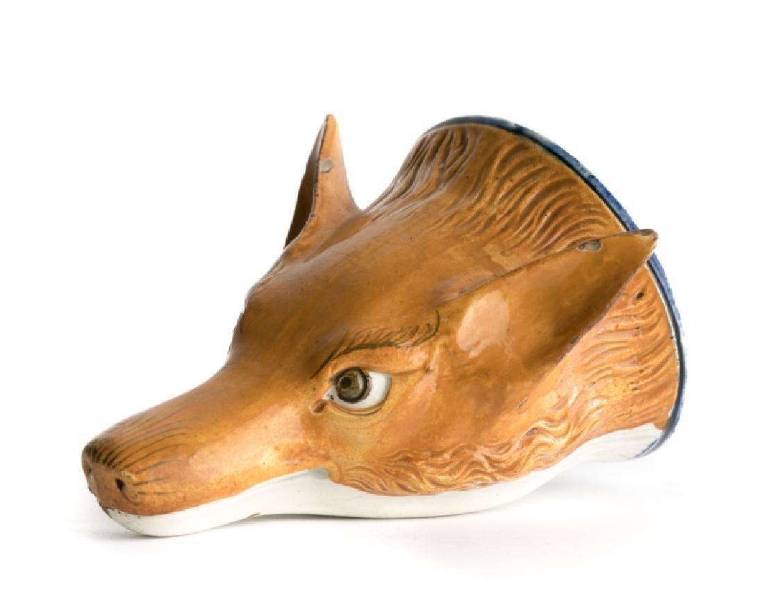 English Pearlware Fox Stirrup Cup c. 1800