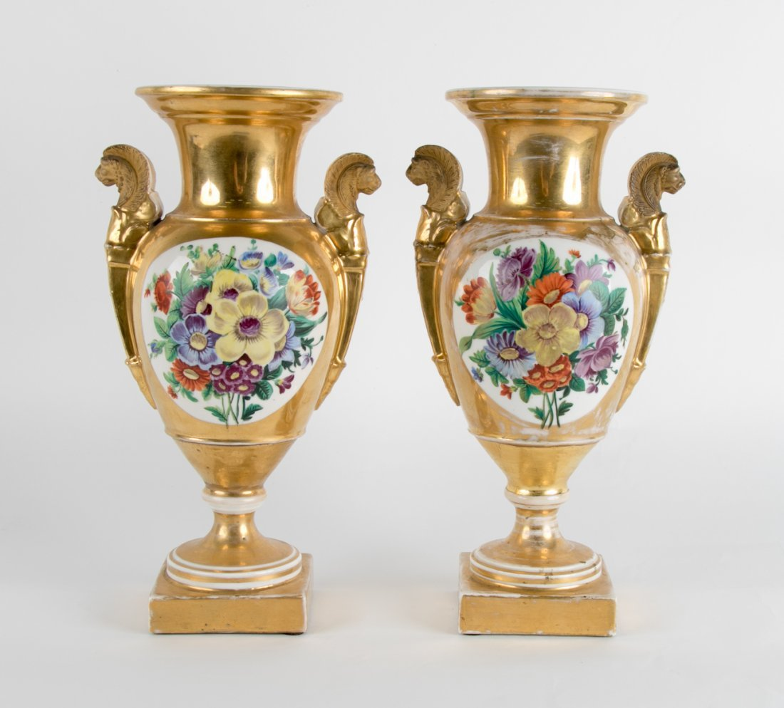 Pair of Sevres-Style Hand Painted Urns