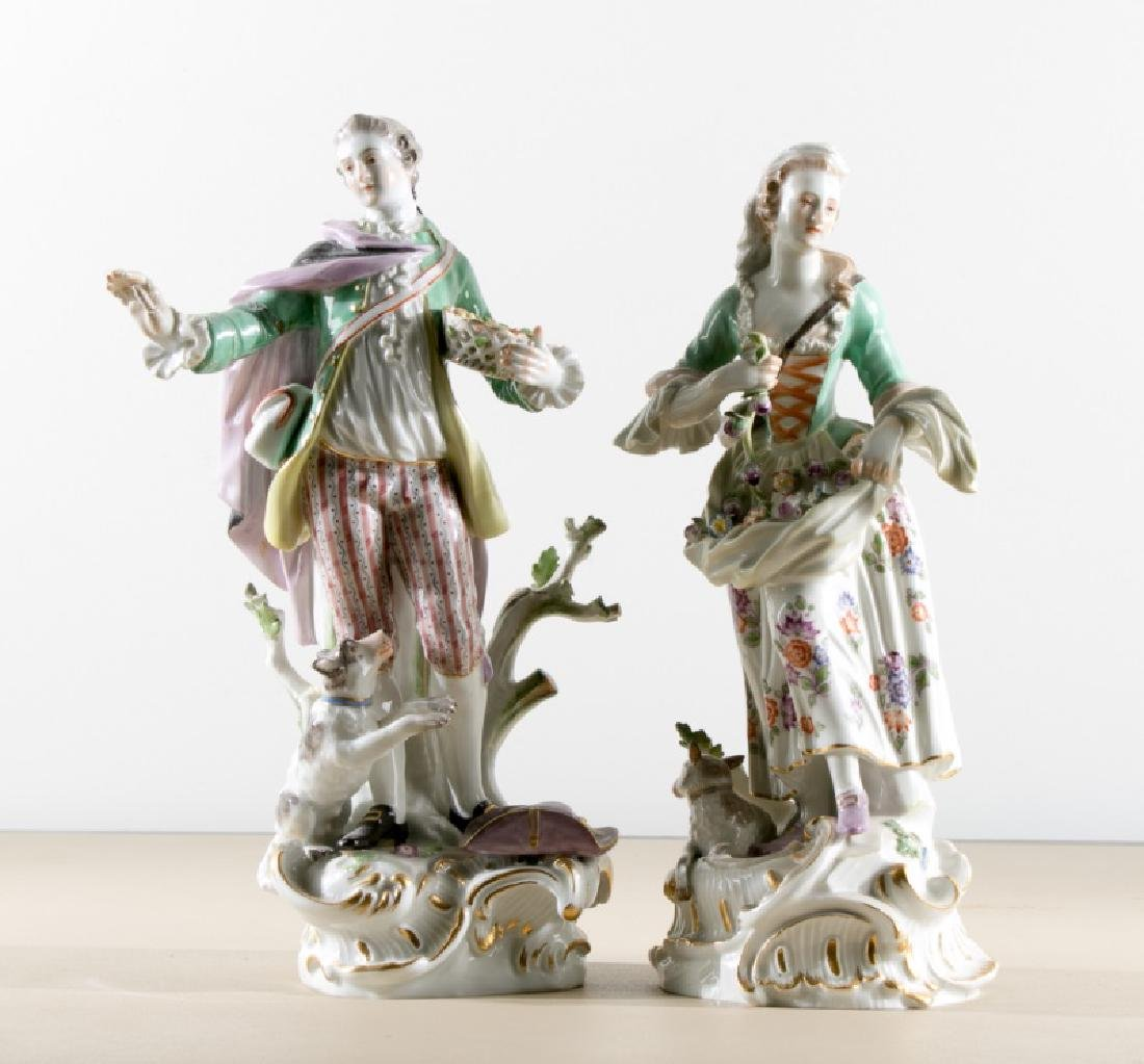 Pair, Painted Porcelain Meissen Figurines, Marked