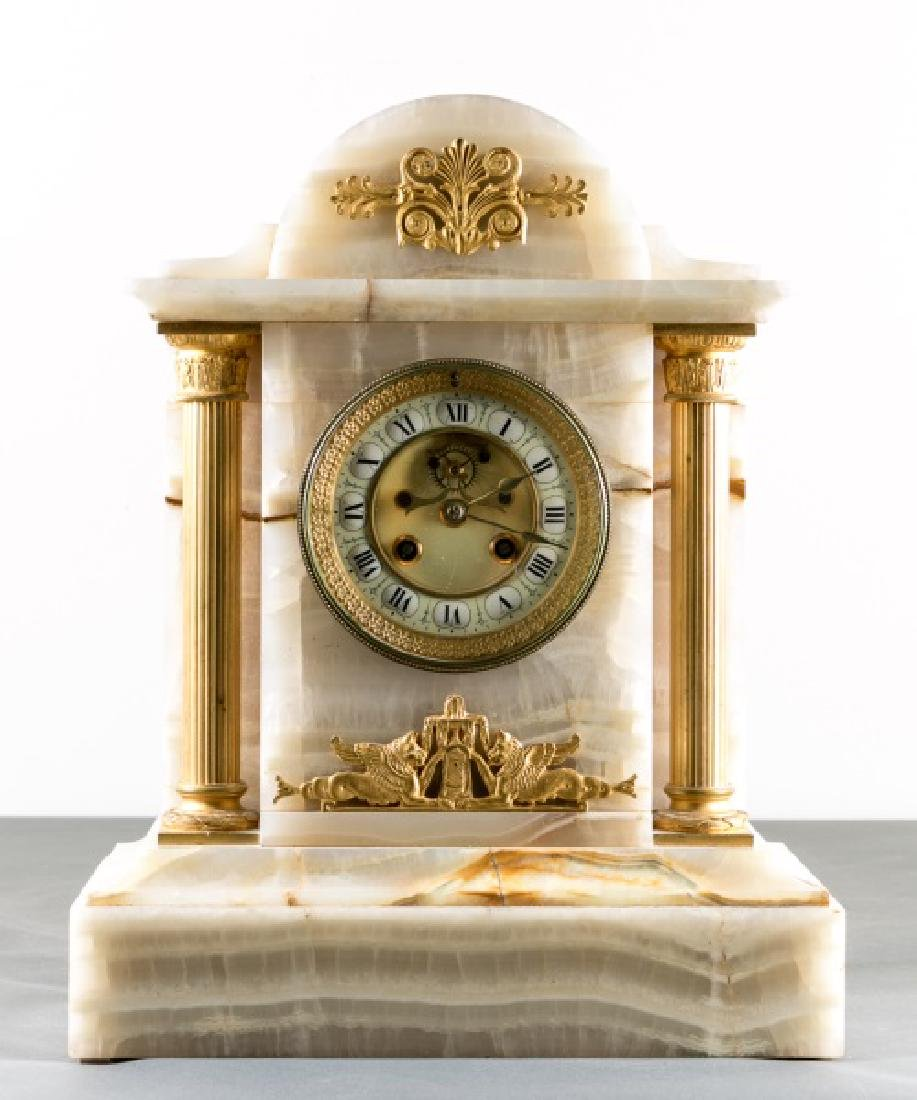 Onyx & Gilt Metal Neoclassical Mantle Clock