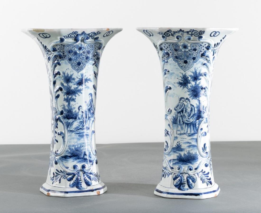 Pair Octagonal Delft Blue & White Vases, JV Mark