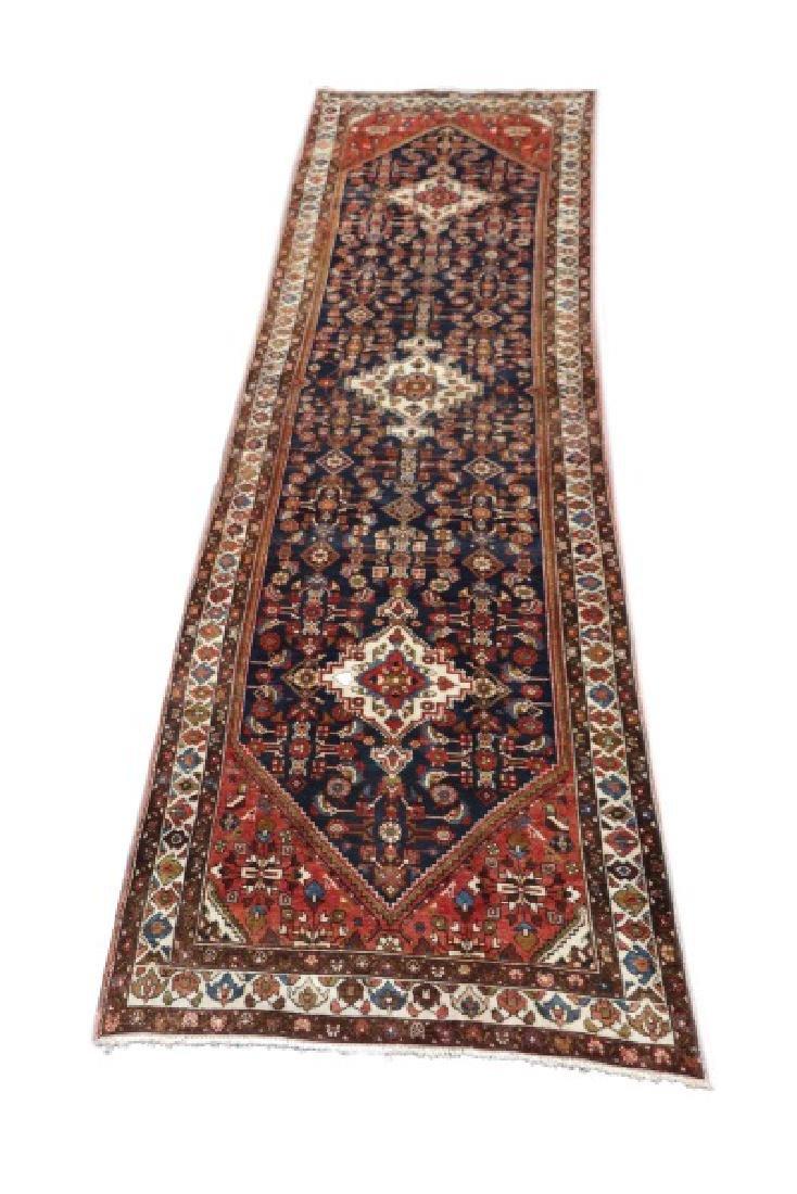 "Hand Woven Persian Hamedan Runner, 4' x 15' 7"""