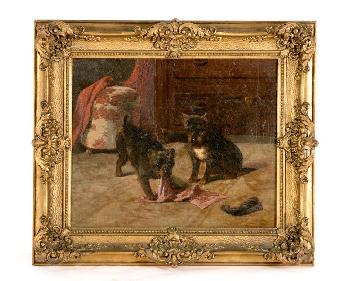 19th C Continental School Signed Oil with Two Dogs