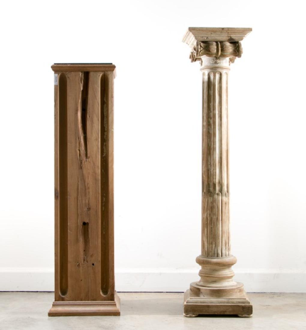 Group of 2 Wood Pedestals, One Distressed