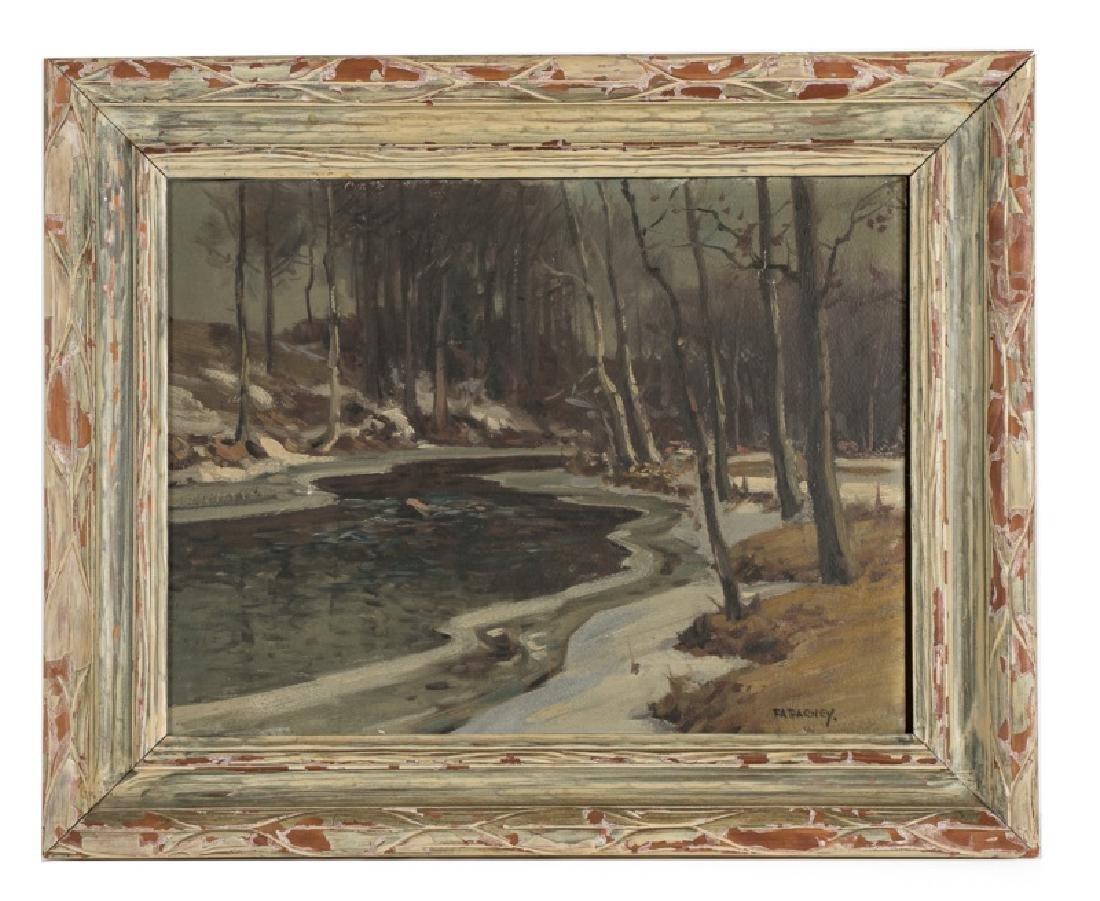 F.A. Barney Signed O/C Evening River Landscape