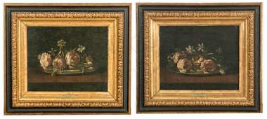 Pair, 17th C. Spanish School Still Life Paintings