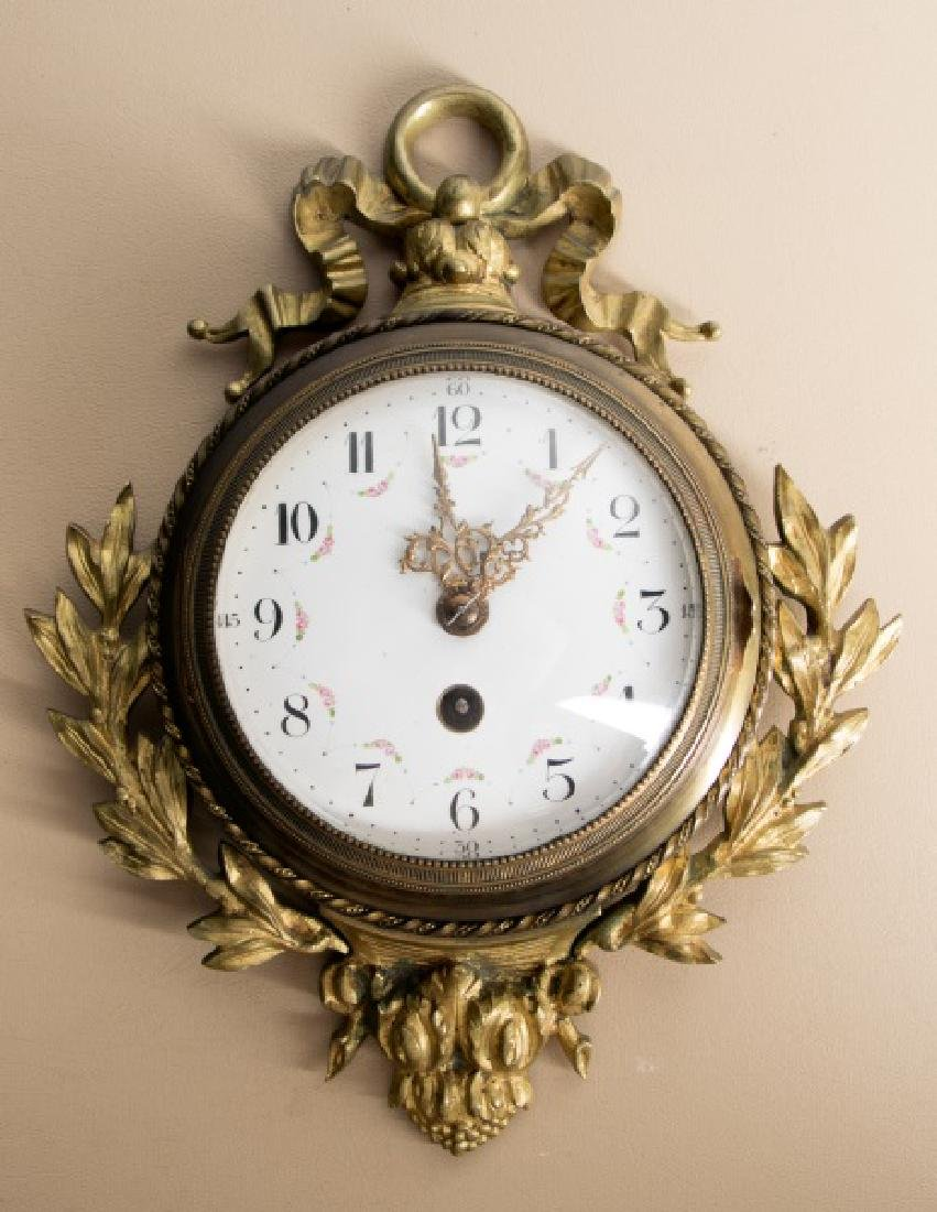 Petite 19th C. French Gilt Brass Cartel Clock