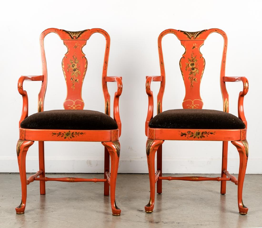 Pair Orange Tole Painted Queen Anne Armchairs