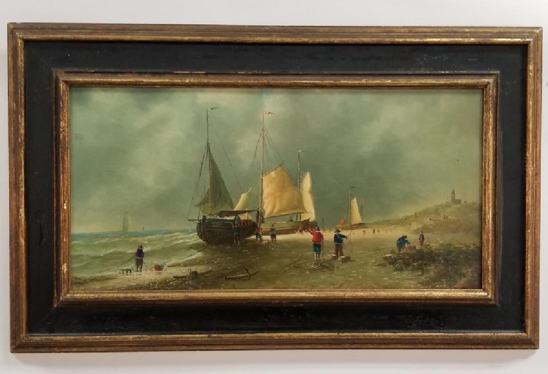 Continental School, Oil on Canvas Shore Scene