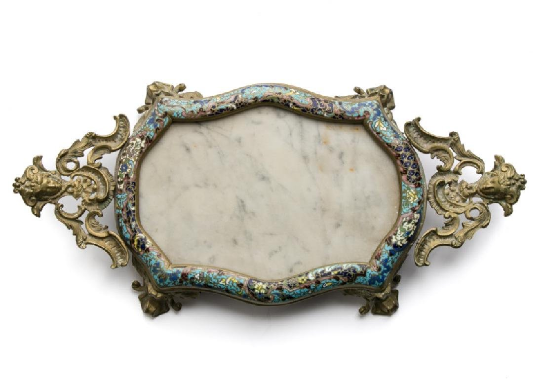 19th C. French Brass, Marble, and Champleve Tray