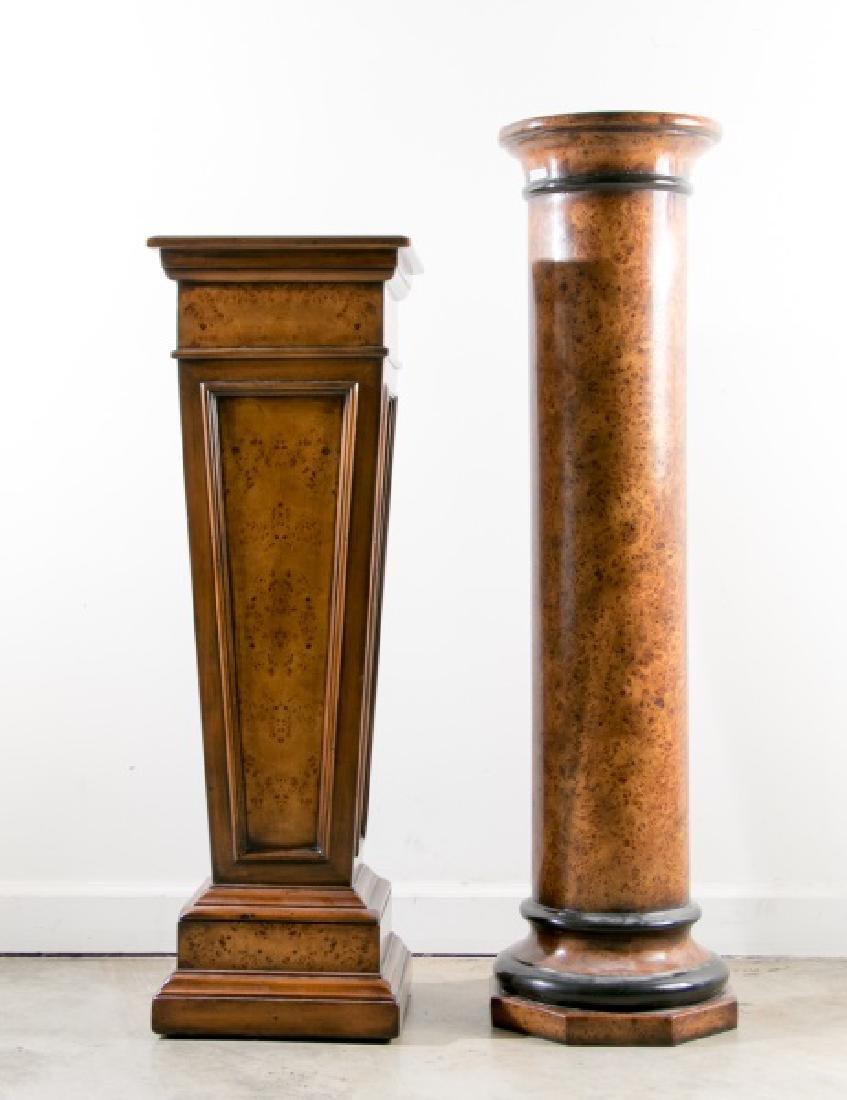 Group of 2 Burled Wood Pedestals