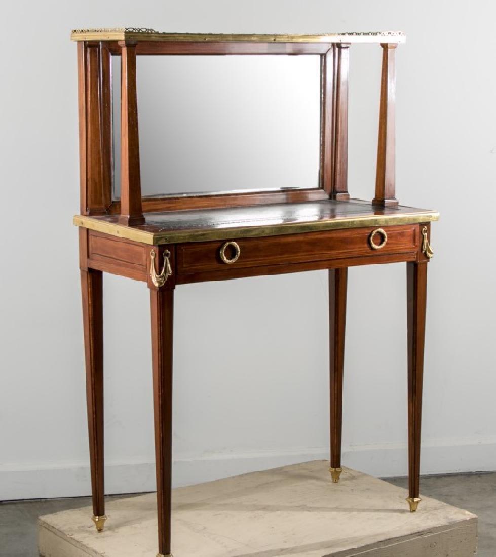 French Mahogany Vanity, Mirrored Back & 1 Drawer