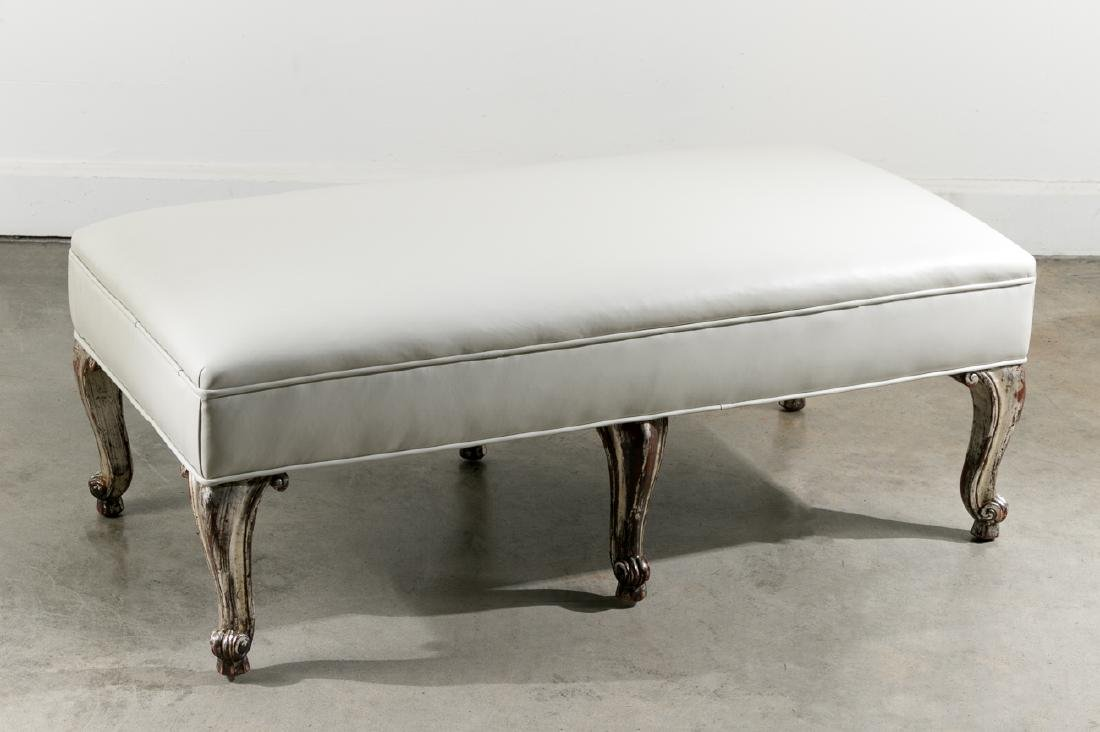 Contemporary French Style Leather Ottoman