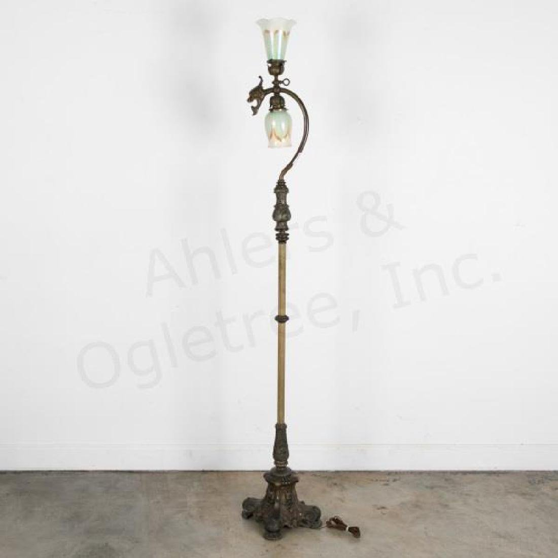 Art Nouveau Floor Lamp w/ Pulled Feather Shades