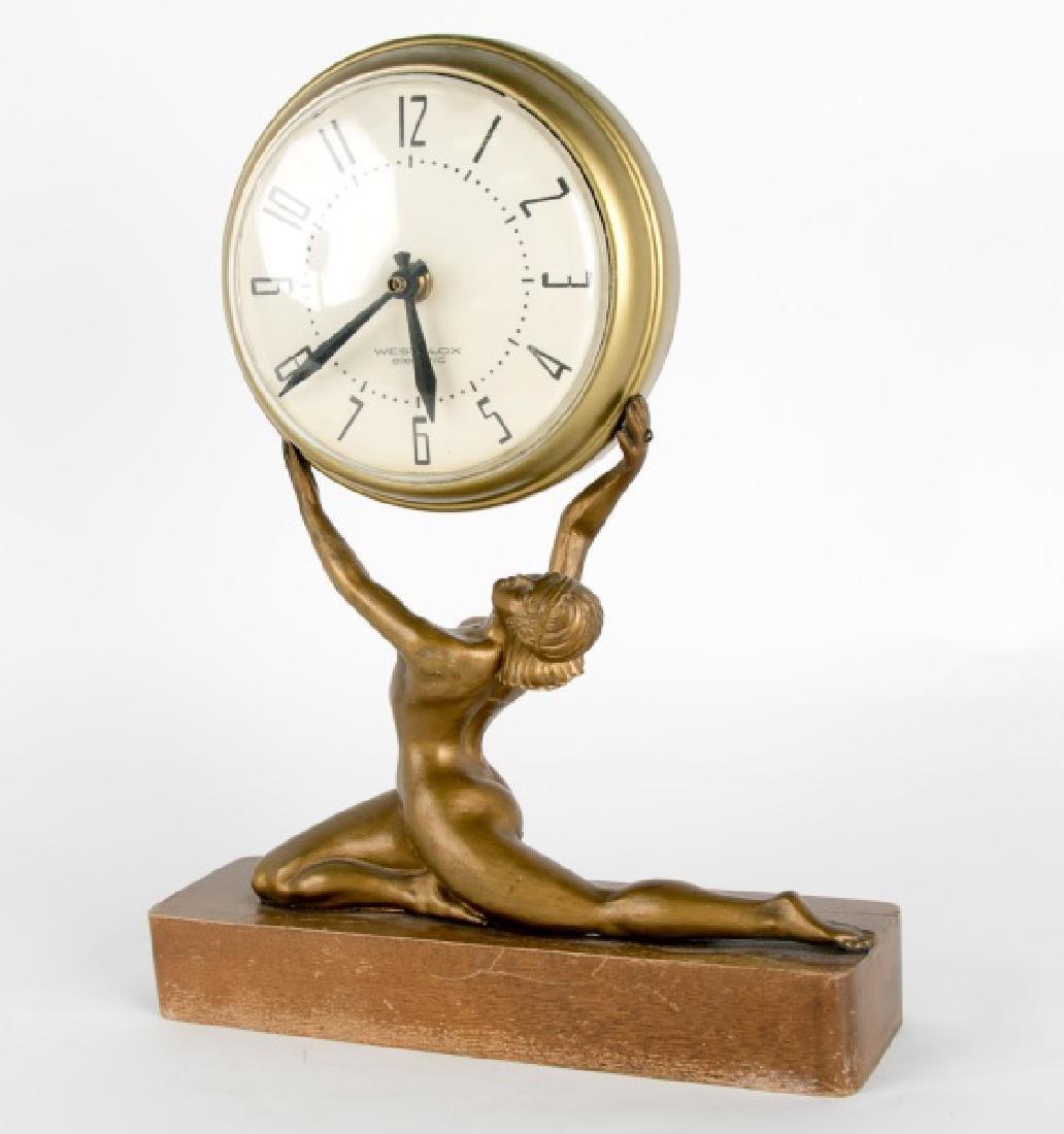 Art Deco Figural Mantle Clock, Westclox Electric