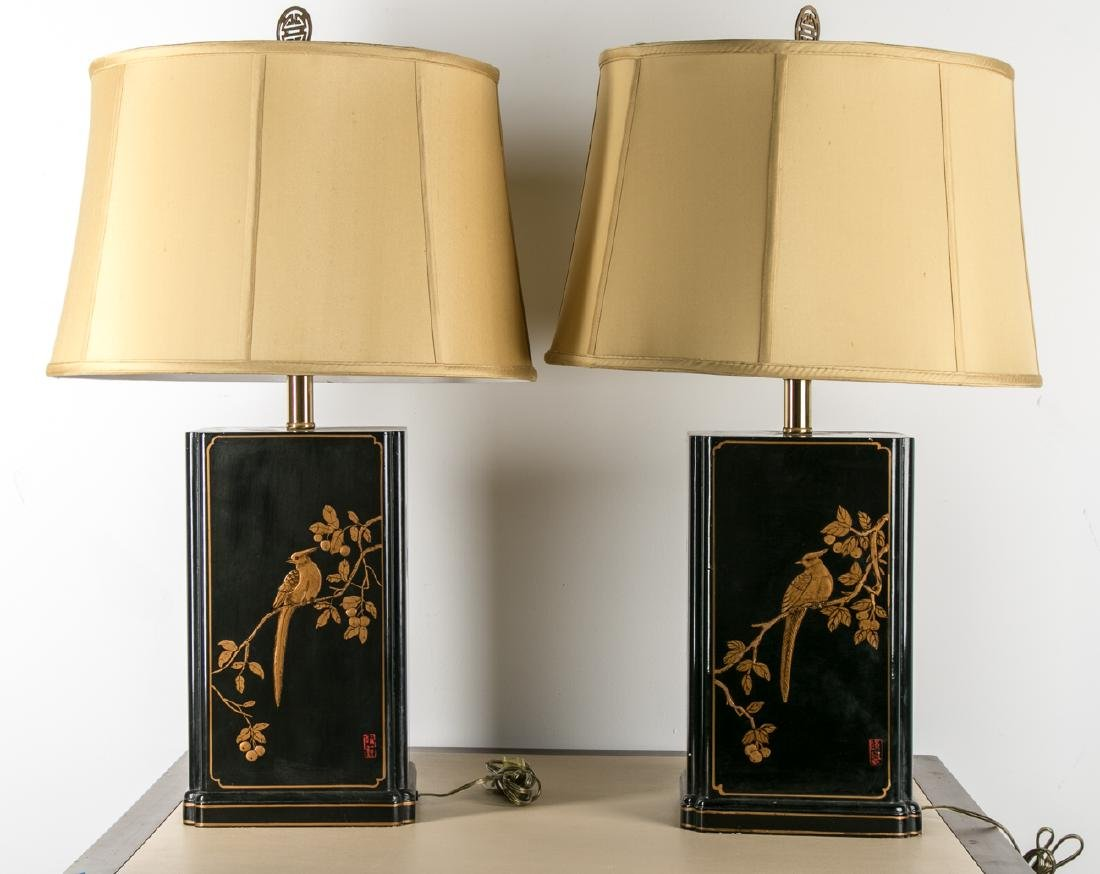 Pair of Maitland-Smith Chinoiserie Table Lamps