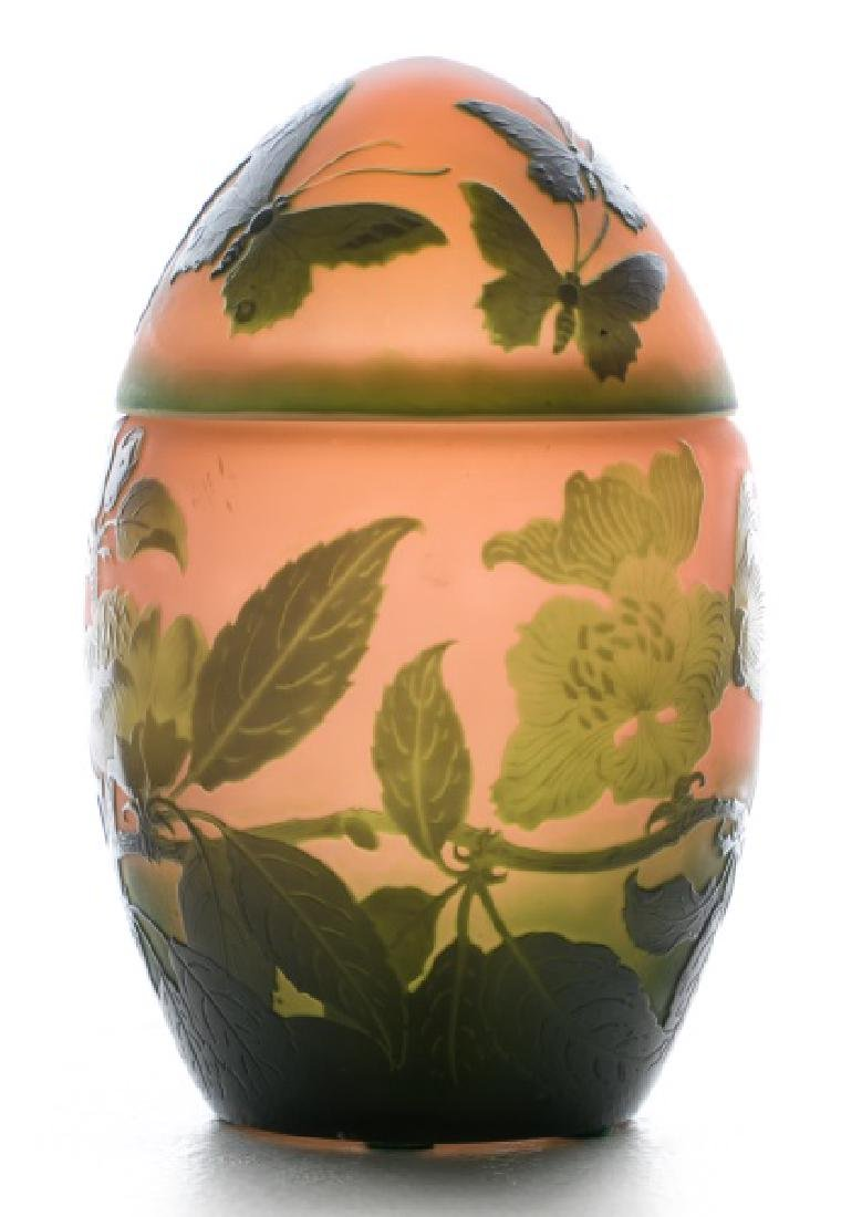 D'Argental Cameo French Art Glass Egg, ca 1920