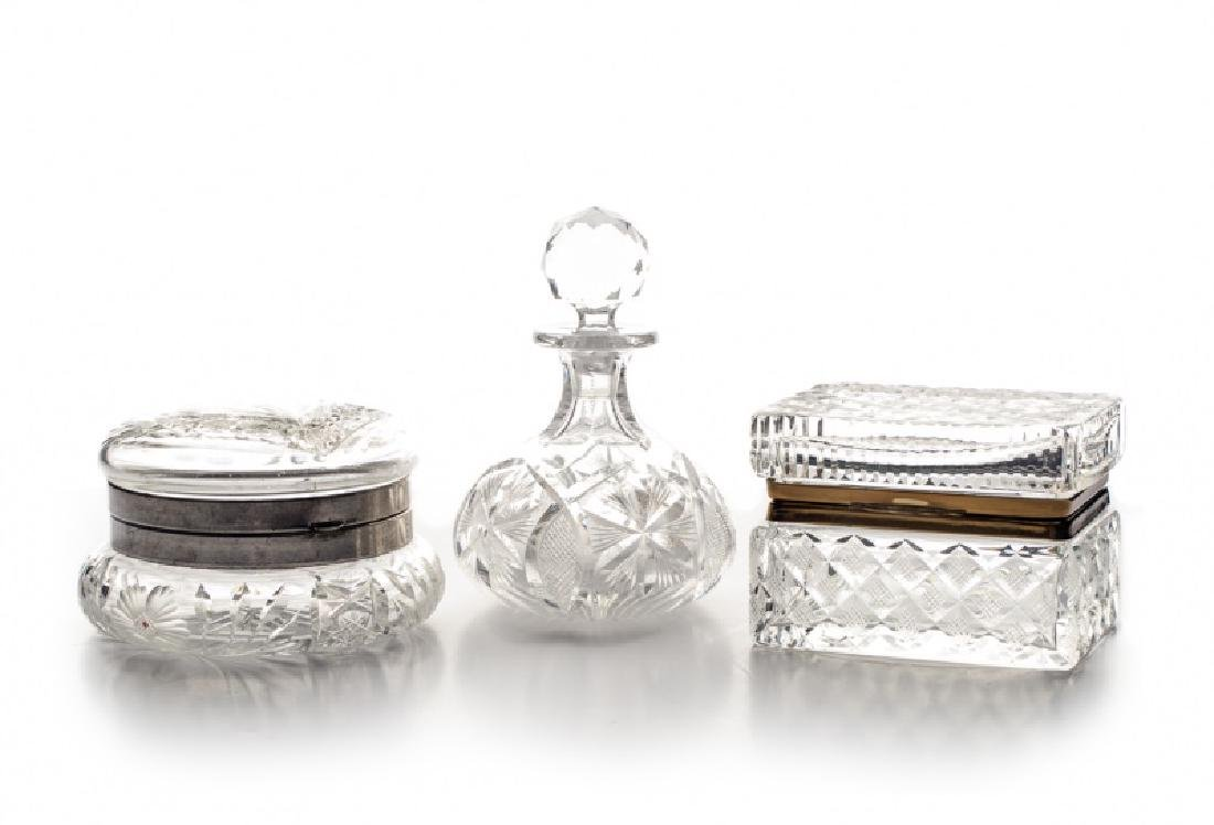 Group of 3 Cut Crystal Pieces: Perfume & 2 Boxes