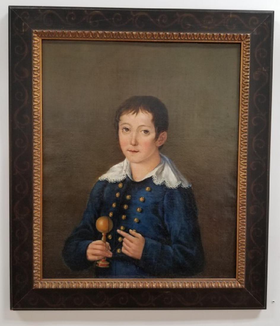 """English School, """"Portrait of Boy"""" in Blue, 19th C"""