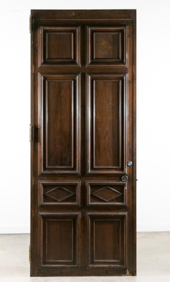Palatial Carved Wood Entryway Door w/ Iron Pull