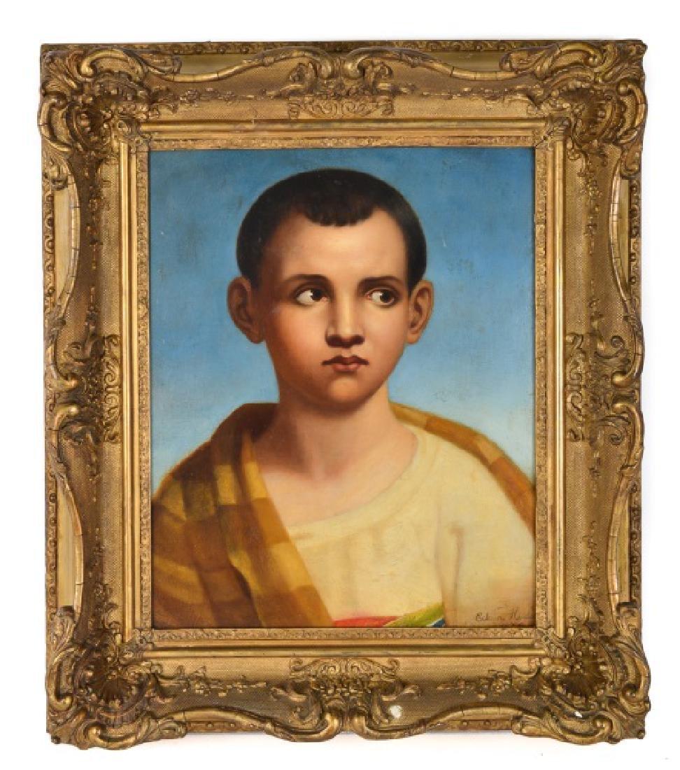 Portrait of a Young Boy in Blanket, Oil on Board