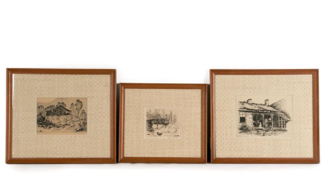 Three Framed Landscape Etchings, Louis E. Jones