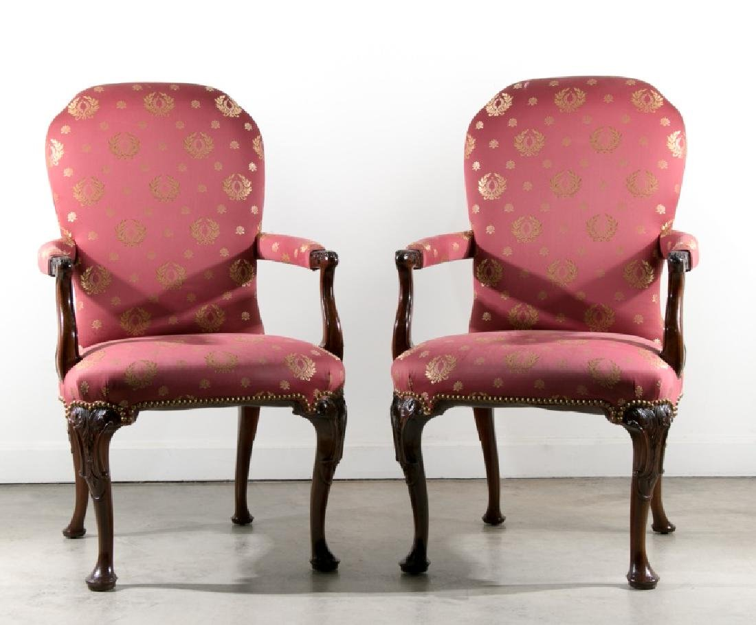 Pair of George II Style Arm Chairs by Kindel
