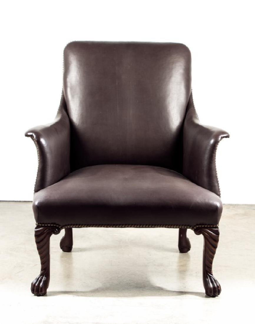 Leather Arm Chair with Brass Nail Heads