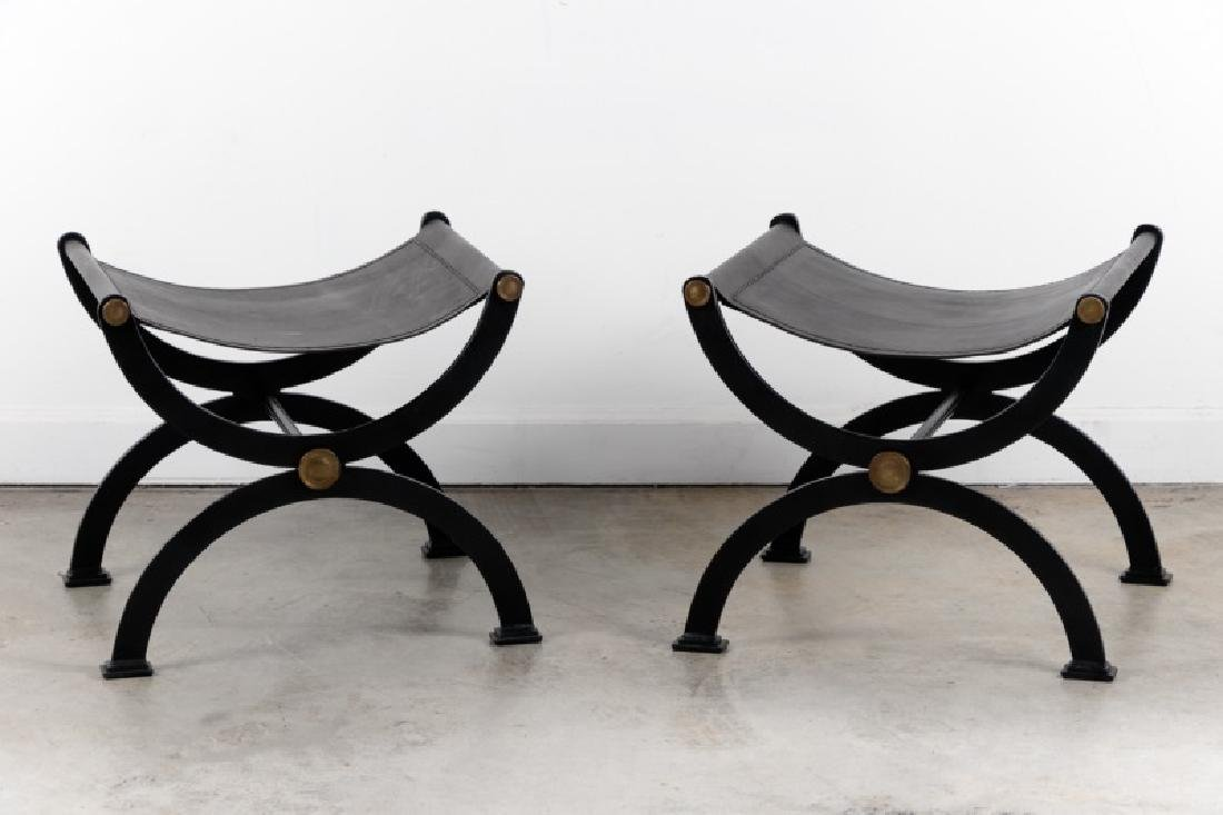 Pair, Regency Style Leather & Iron Curule Stools
