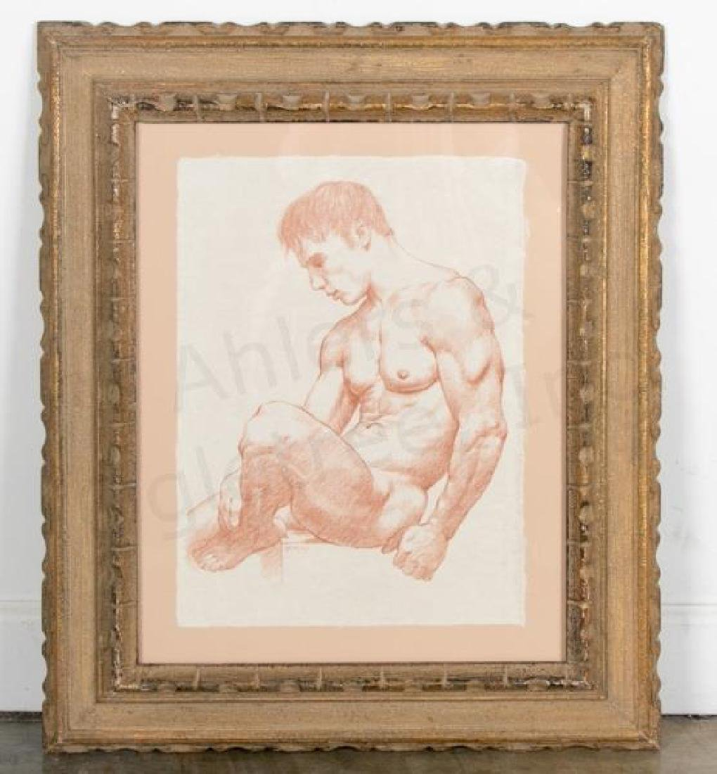 D e henry signed brown conte pencil sketch nude