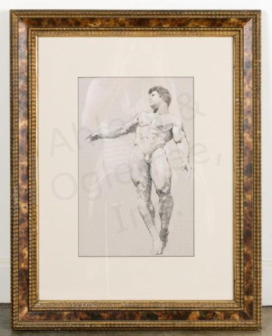 D.E. Henry Signed Conte Pencil, Classical Nude