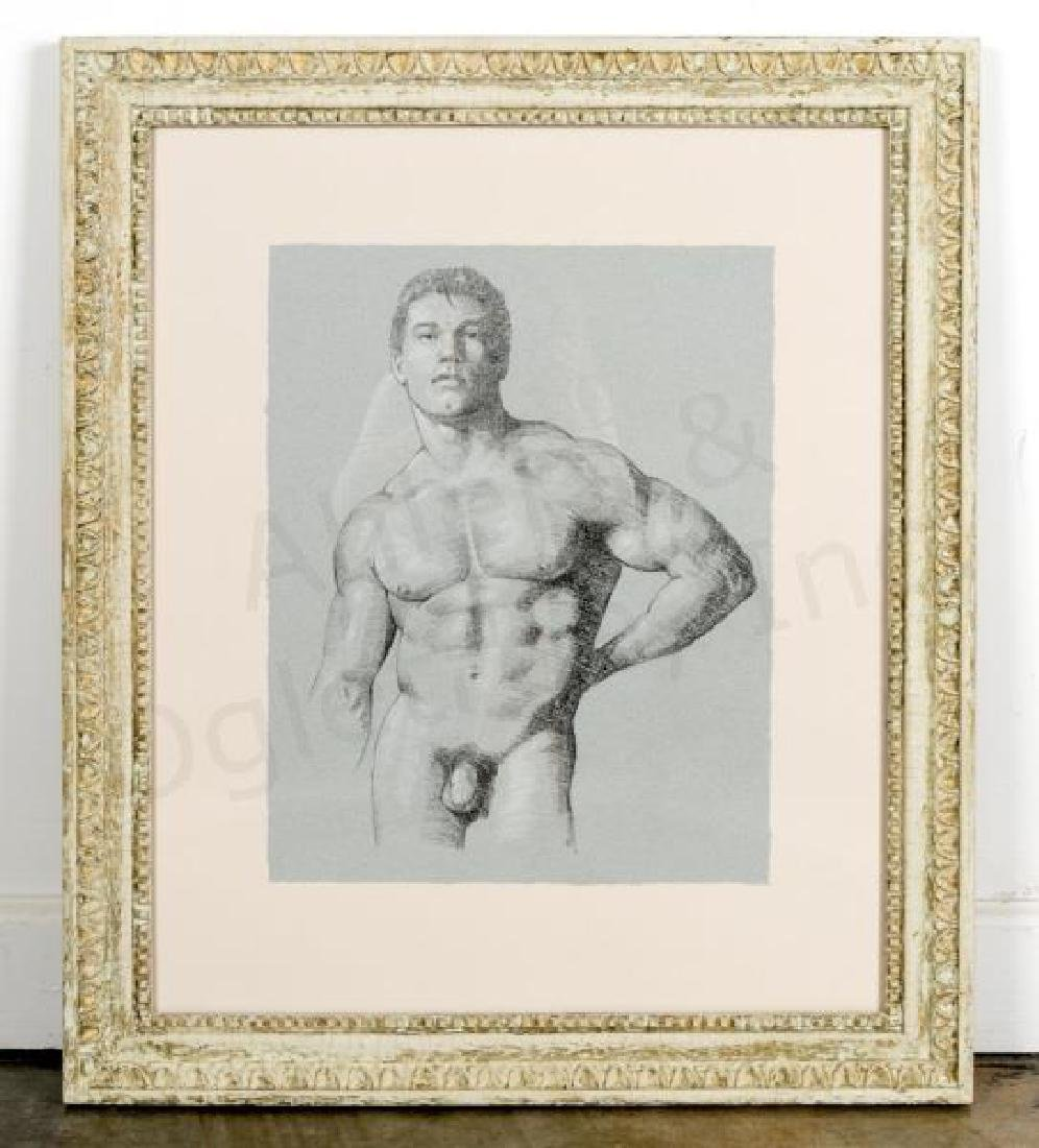 D e henry signed conte pencil sketch male nude