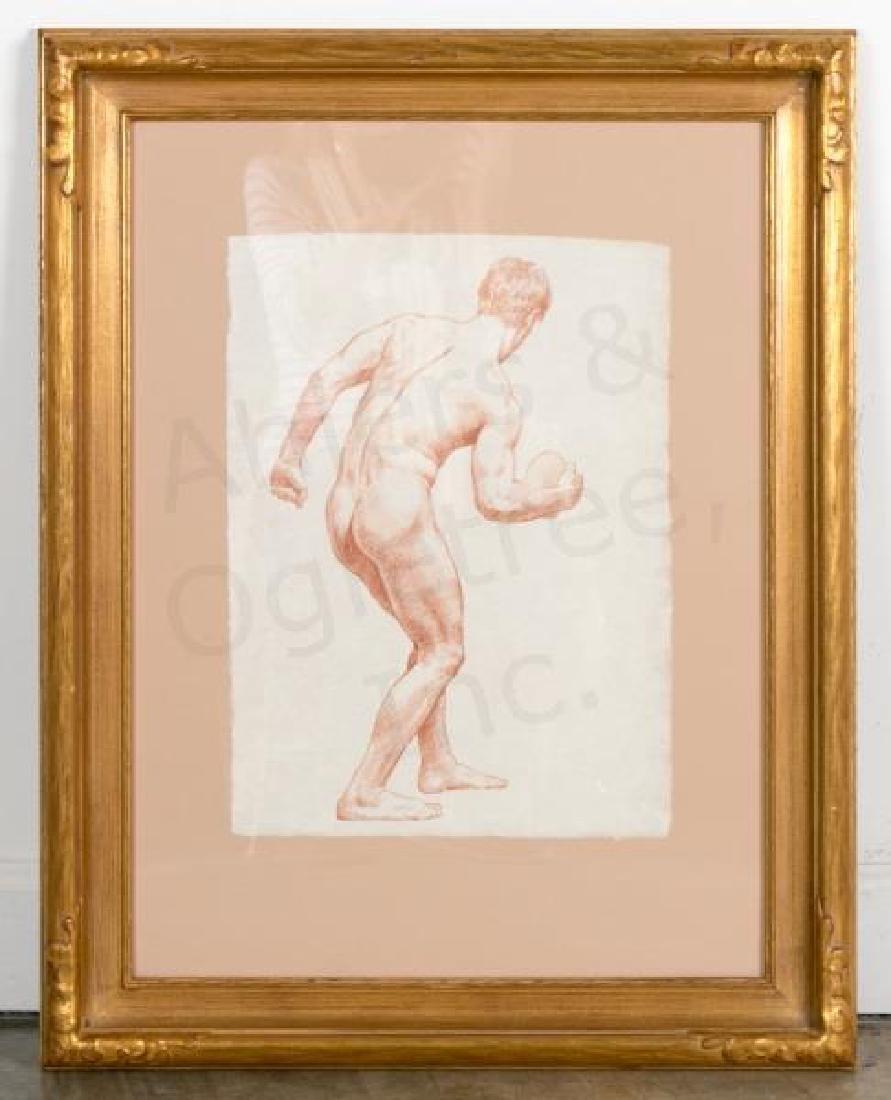 D.E. Henry, Signed Conte Pencil Sketch, Nude Male