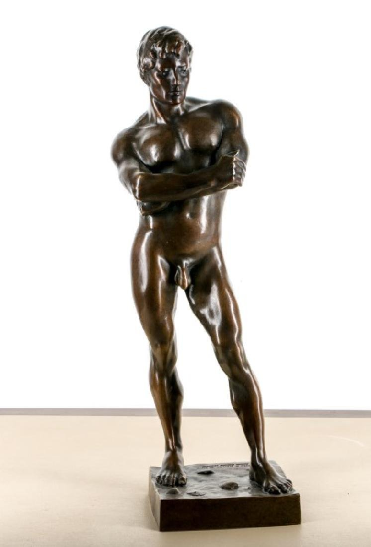 D. Henry Standing, Male Nude Bronze on Beach