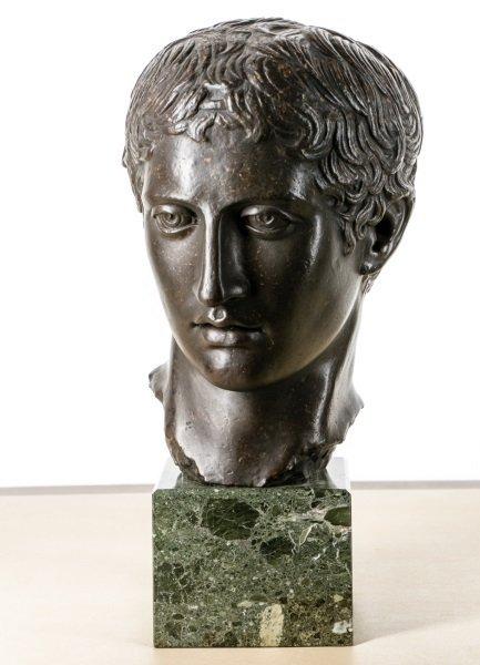 David E. Henry Bronze Bust of Caesar, Signed
