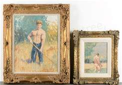 Two David Henry Oil on Board Works, Signed