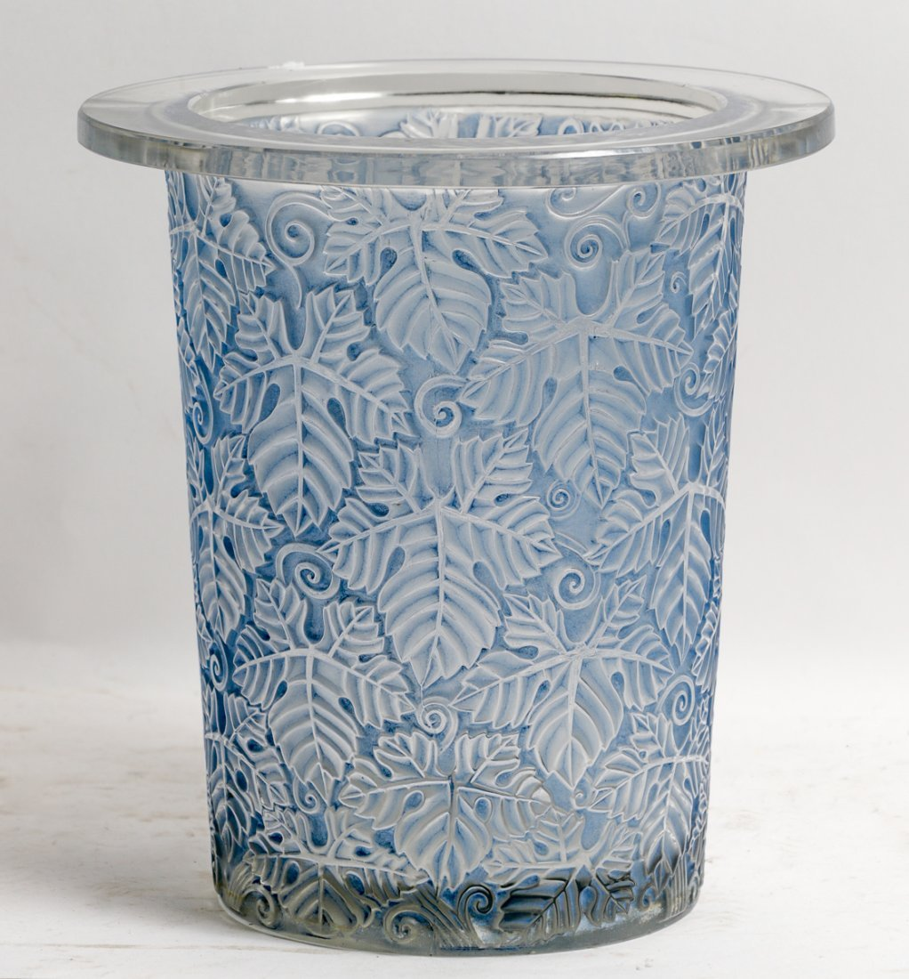 Rene Lalique Large Grapevine Vase with Blue Patina
