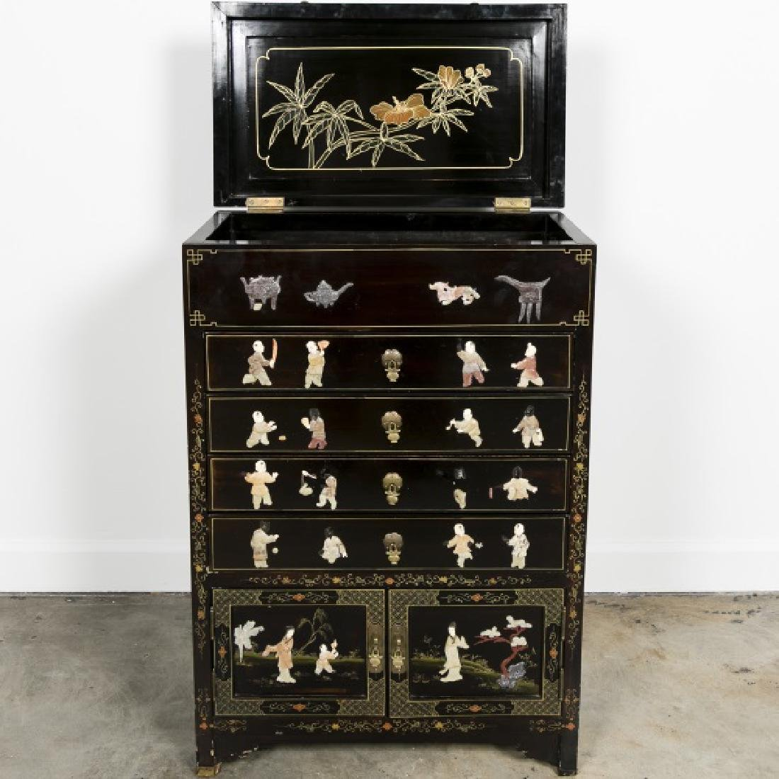 Chinese Black Lacquered Hardstone Bar w/ Drawers