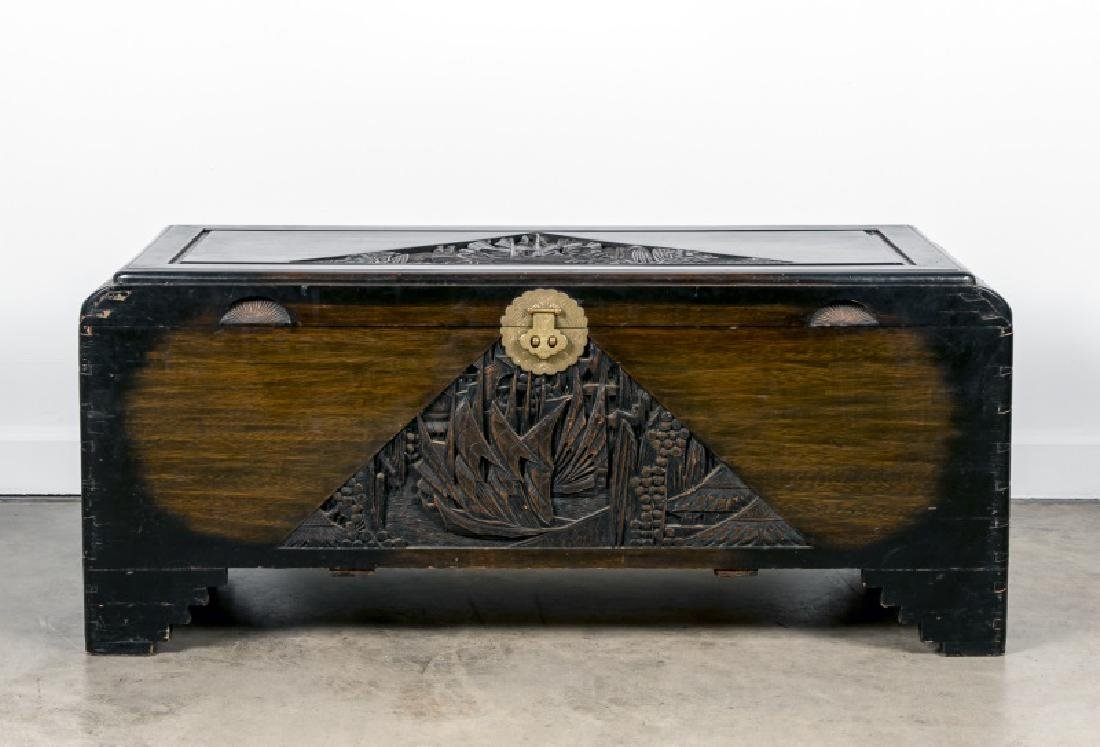 20th Century Chinese Carved Wood Trunk