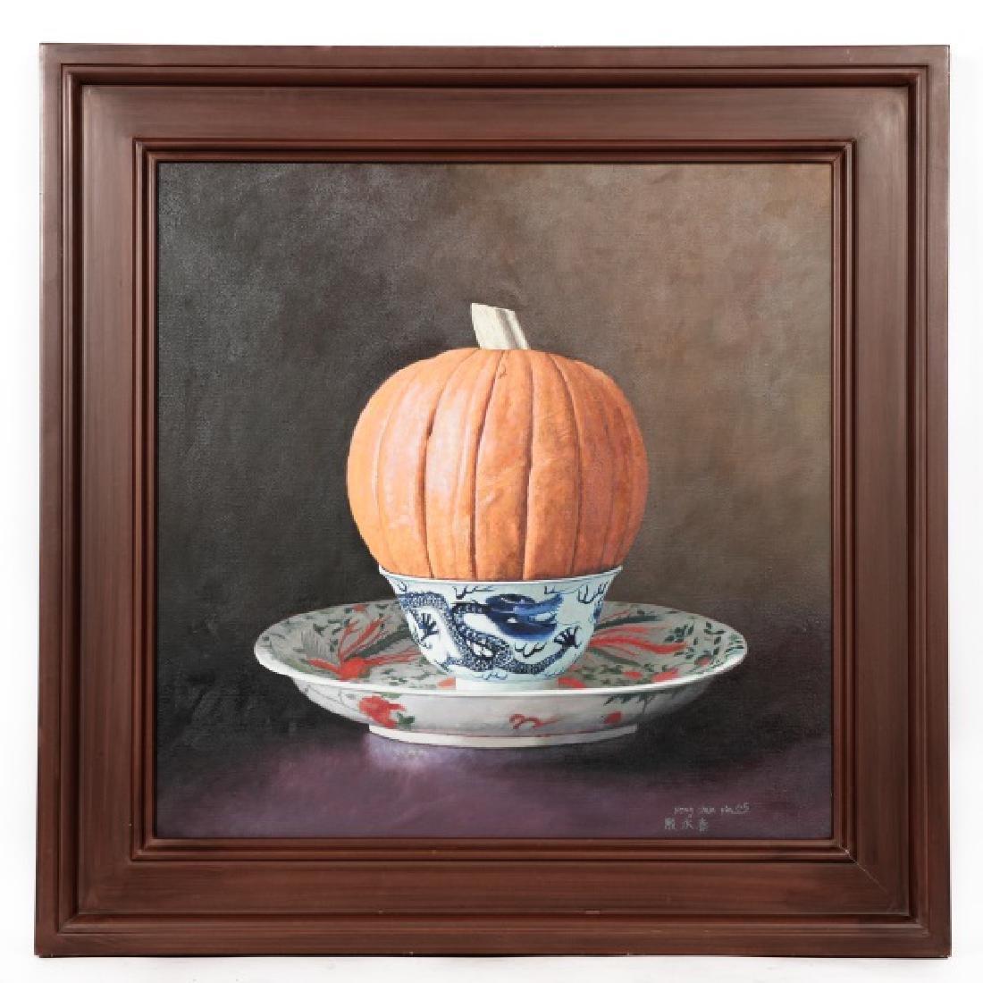 """Yin Yong Chun """"Pumpkin in a Bowl"""" Signed Oil"""
