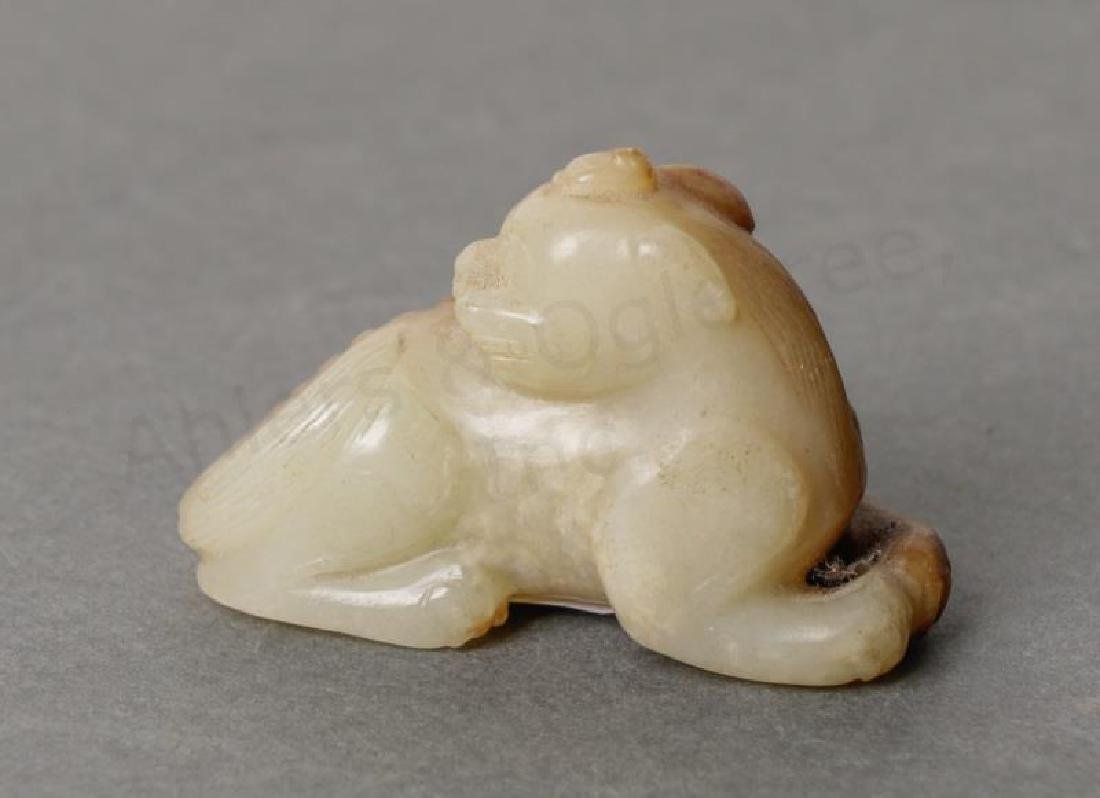 Chinese Ming White & Russet Carved Jade Qilin