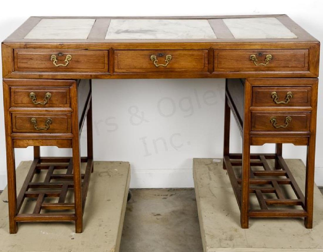 Chinese Qing Style Marble Inset Writing Desk
