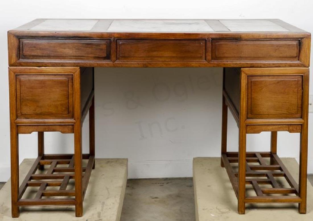 Chinese Qing Style Marble Inset Writing Desk - 2