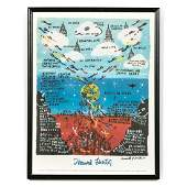 Howard Finster Framed Exhibition Poster, Signed