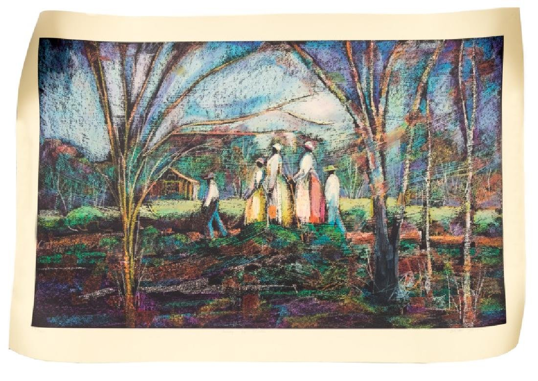 """W. Tolliver """"Going to Church"""" Signed Serigraph"""